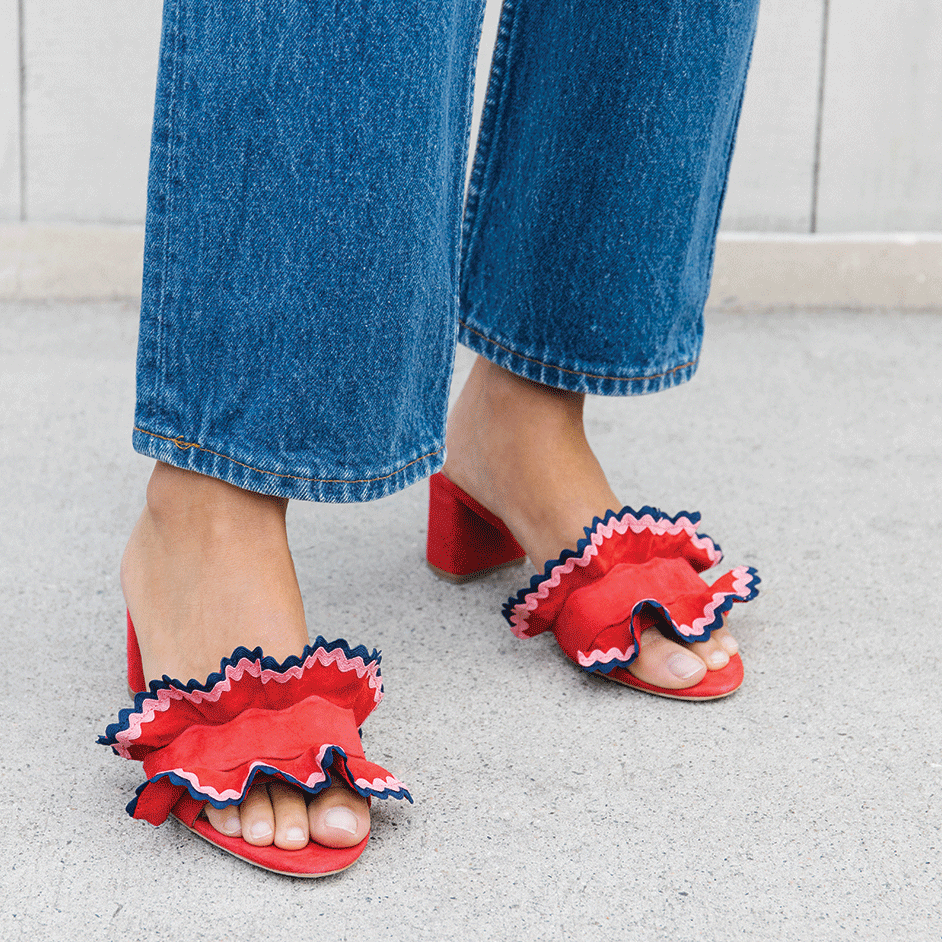 vera ruffle slide sandal  – now 30% off at  loeffler randall !