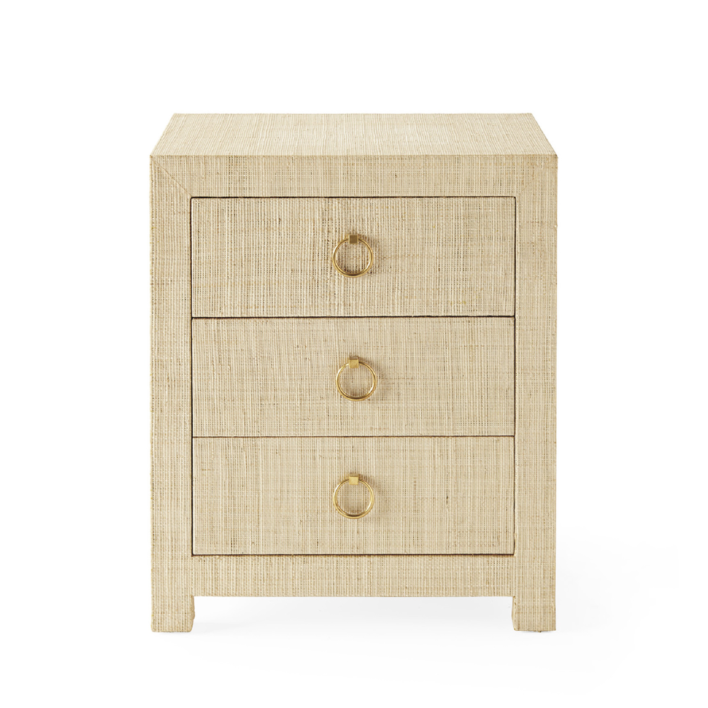 blake raffia 3-drawer nightstand
