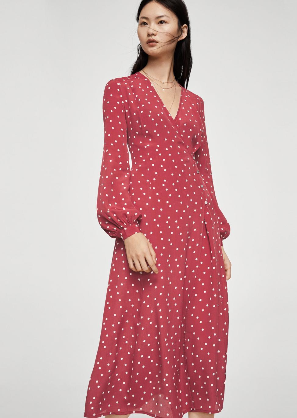 wrap polka-dot dress –$99.99