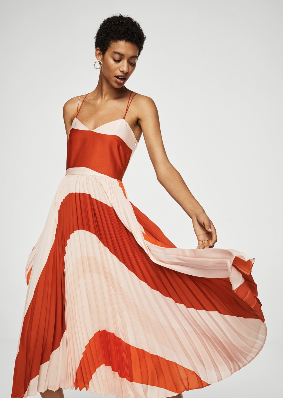pleated bicolor dress – $169.99