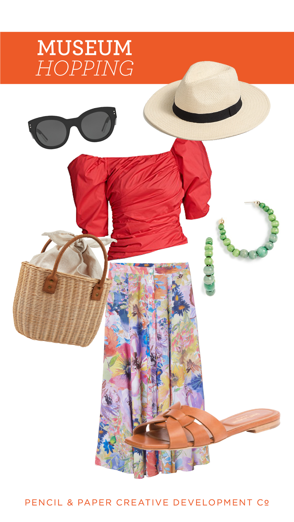 museum hopping:   skirt  /  blouse  /  handbag  /  sandals  /  sunglasses  /  earrings  /  panama hat