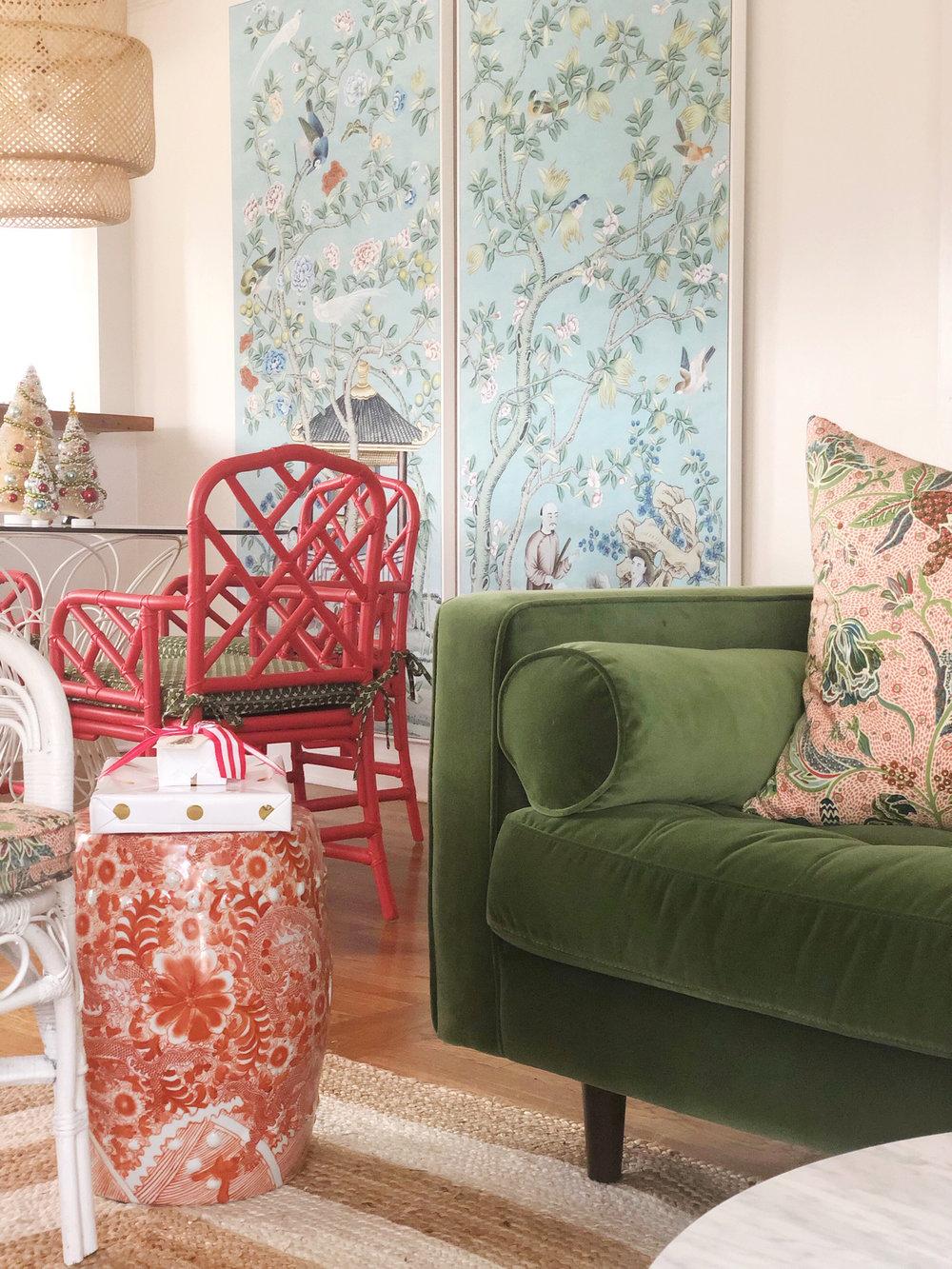 green velvet sofa ,  red garden stool ,  floral pillow fabric