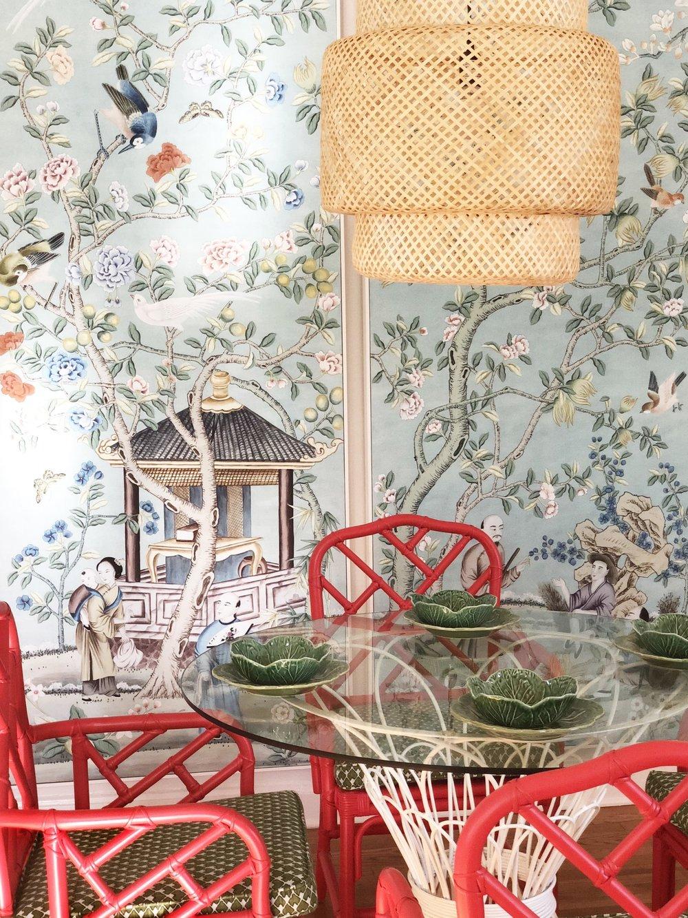 chinoiserie panels ,  rattan pendant ,  bamboo chairs