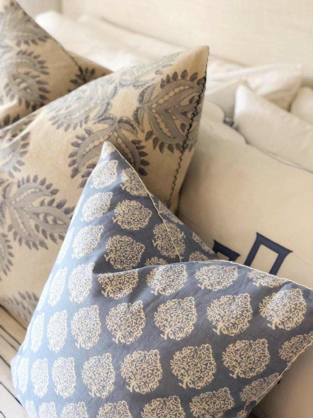 pillows  ( left ,  front ),  monogrammed pillow shams
