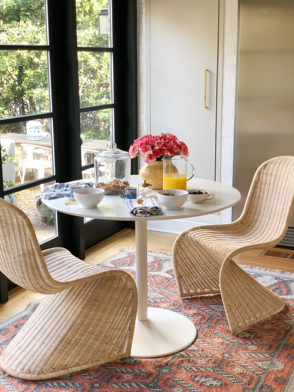 610bd3a43e47 set of 2 rattan dining chairs , similar flatweave rug , glass jar , fridge ,