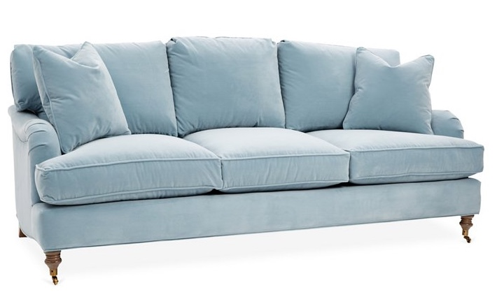 Brooke Sofa, Light Blue Velvet