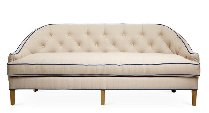 Charlotte Tufted Sofa, Bisque Linen