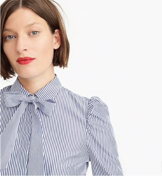 Neck-bow stripe blouse