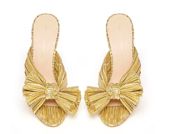 these  fun gold pleated heels  from  loeffler Randall  are our go-to for adding a touch of sparkle! prefer flats? these  pointed toe slingbacks  are our choice!