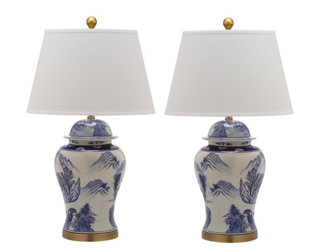 these  blue and white ginger jar lamps  are perfection