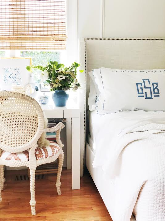 scenes from our bedroom! Our  headboard  is on sale and You can also snap up this  desk ,  bamboo shades , and  bedding !