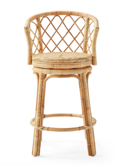 we love these  rattan swivel counter stools !