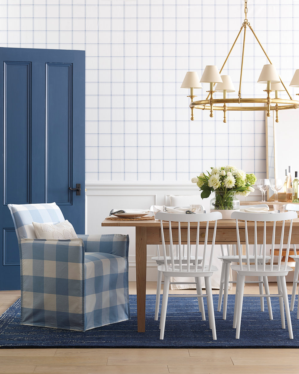 we love this graphic gingham pattern on this  armchair