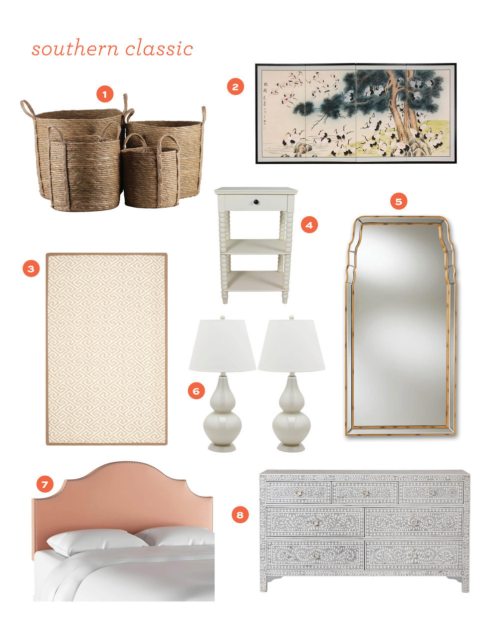 1.  natural baskets  2.  silk panels  3.  geometric rug  4.  spindle side table  5.  curvilinear mirror  6.  pearl gray lamps  7.  upholstered headboard  8.  bone inlay dresser