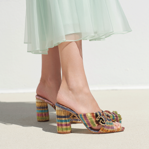 these  new candy stripe knot mules  are at the tippy top of our wishlist