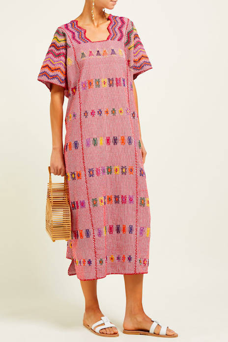 the whimsical zig zag neckline on this  embroidered caftan  is perfection!