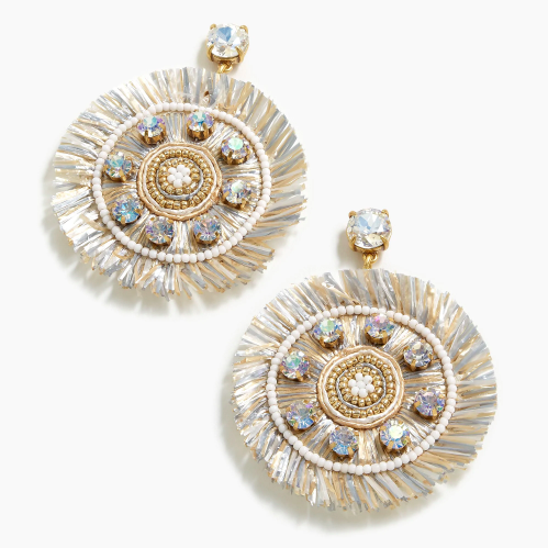 add a touch of metallic with these fun  raffia fringe earrings  (on sale for under $50)