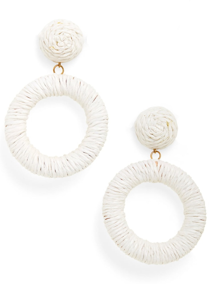 these  woven raffia circle drop earrings  are the perfect addition to any outfit!