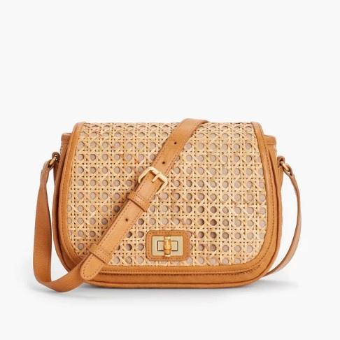 we can't resist a  crossbody bag  - especially one with caning! and take a peek at the sweet bamboo turnlock closure!