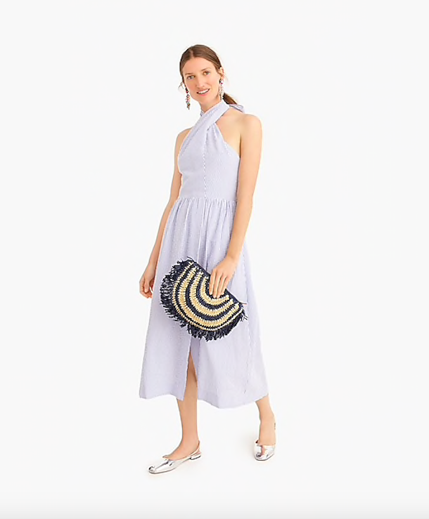 this  seersucker sarong-style dress  is so versatile! Dress it up with these  metallic heels , or dress it down with these  casual wrap sandals !