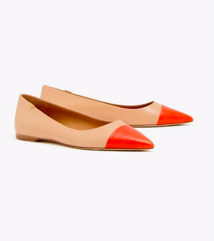 our very favorite  cap toe flats  in our signature orangey red are on major sale!