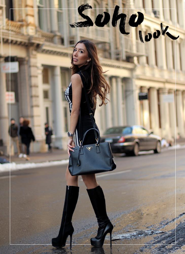 High boots in Soho. Fashion blogger New York. Ulia Ali