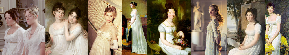 Regency Era Fashion in films and art. Sense and Sensibility, War and Peace. Emperial Style White Dress