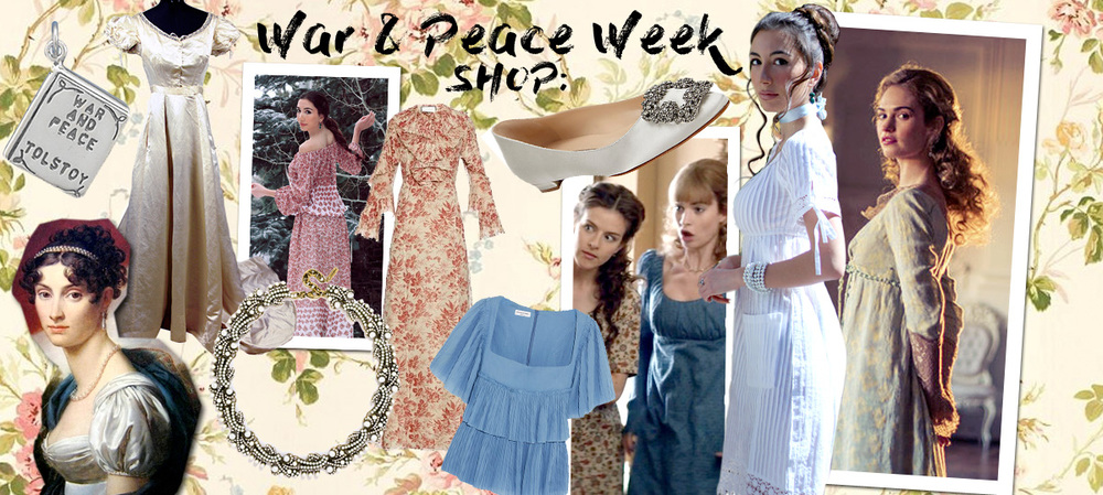 Curated War and Peace shop online. Dresses and jewellery, accessories and book.