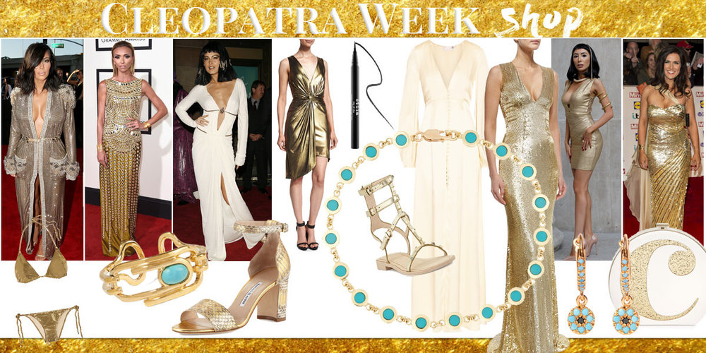 Weekly Themed shop on pastiche.today blog. Cleopatra gold looks. Celebrities and models