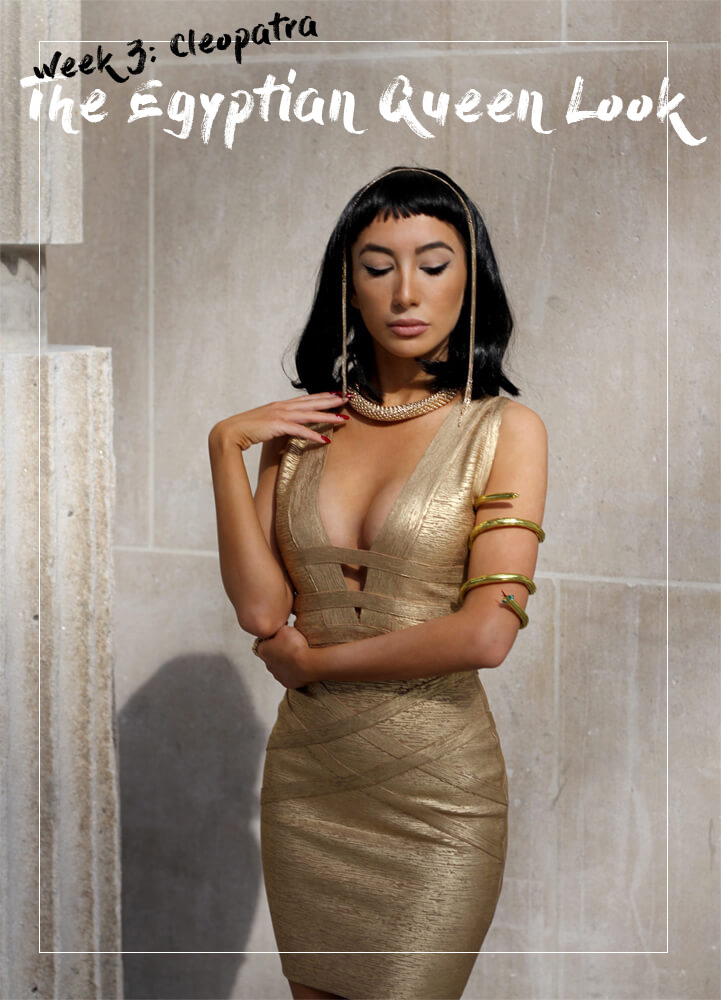 Modern version of Cleopatra's Fashion Look. Gold dress, black wig and signature cat-eye make up. By Ulia Ali
