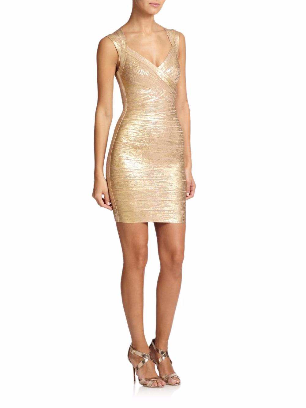 herve leger gold dress