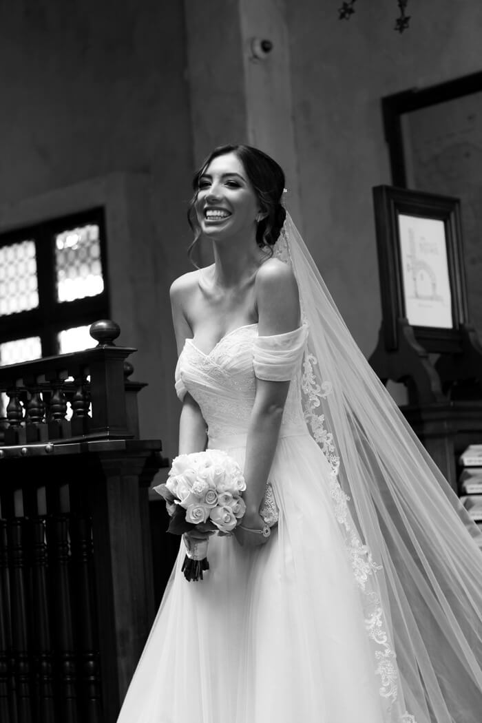 Happy bride in Santa Barbara,California