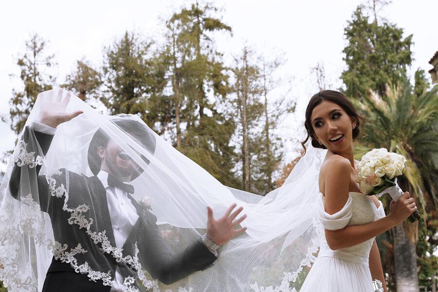 Having fun at our wedding