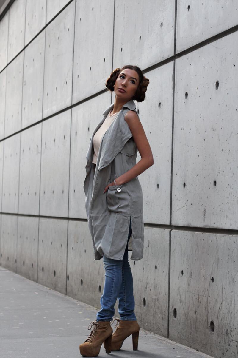 Pastiche of Princess Leia look in Star Wars by fashion blogger