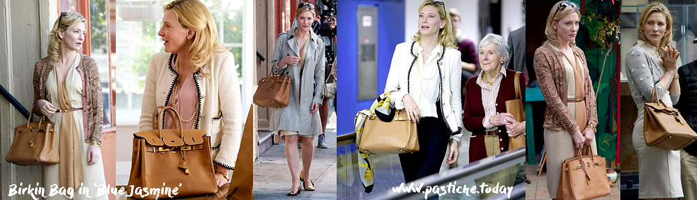 All looks of Cate Blanchett in Blue Jasmine film. Outfits with Hermes Birkin bag -her signature.
