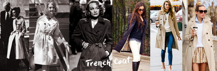 Trench coats by Ulia Ali, bloggers and old Hollywood stars.