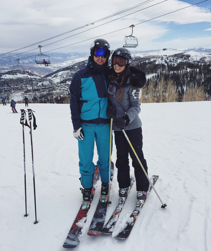 Skiing with my husband Ben.