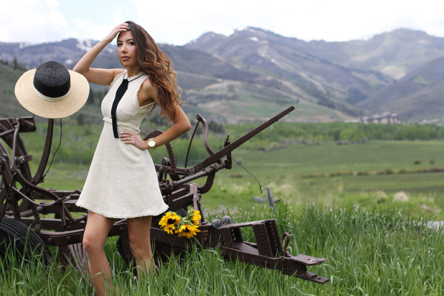 Ulia Ali in Park City, Utah. Wearing Zara Dress.