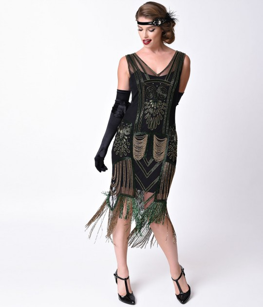 Unique_Vintage_Black_Green_Dorsey_Beaded_Fringe_Flapper_4.jpg