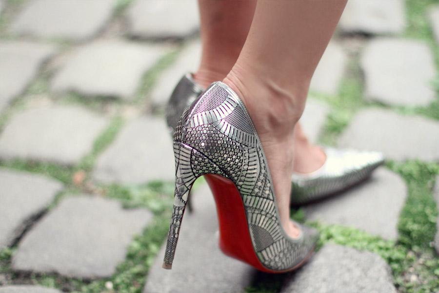 Christian Louboutin Kristali silver heels