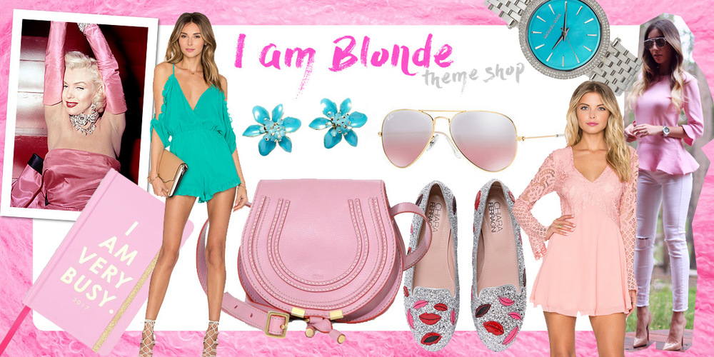 Blonde theme shop. pink and turquoise items on pastiche today.