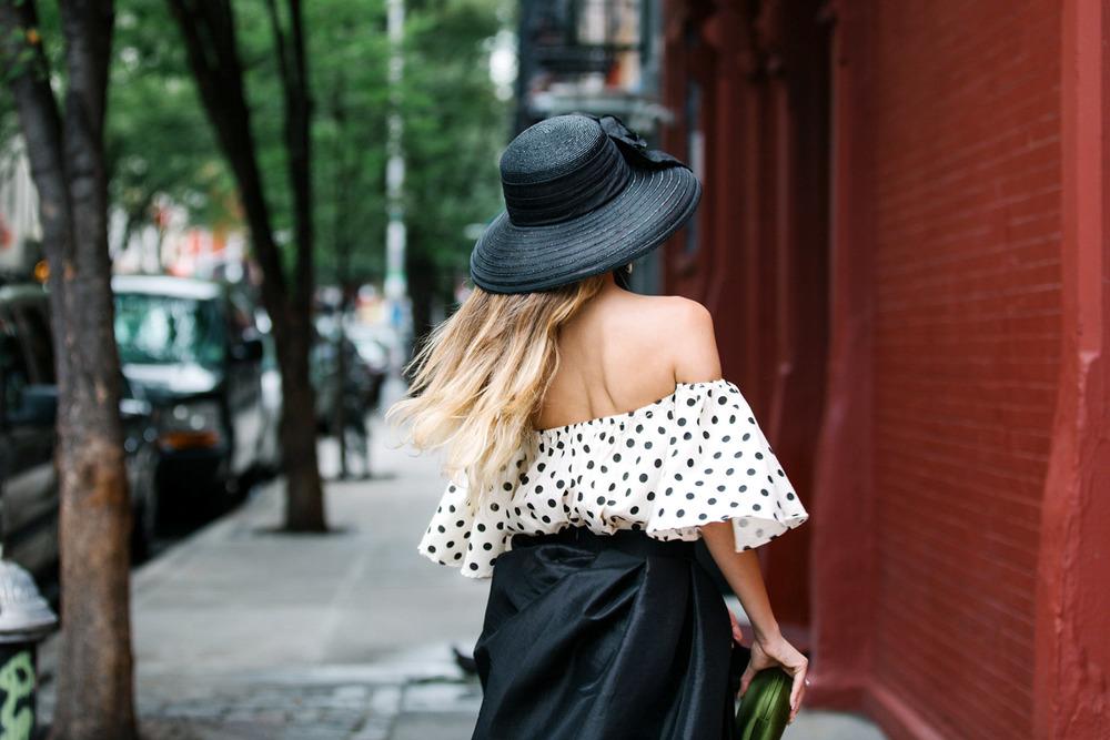 Beautiful blonde girl in Soho, New York City. Streetstyle