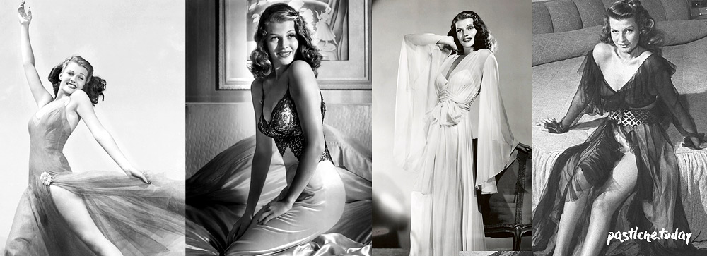 Rita Hayworth in lingerie style dresses. Old Hollywood Inspiration.
