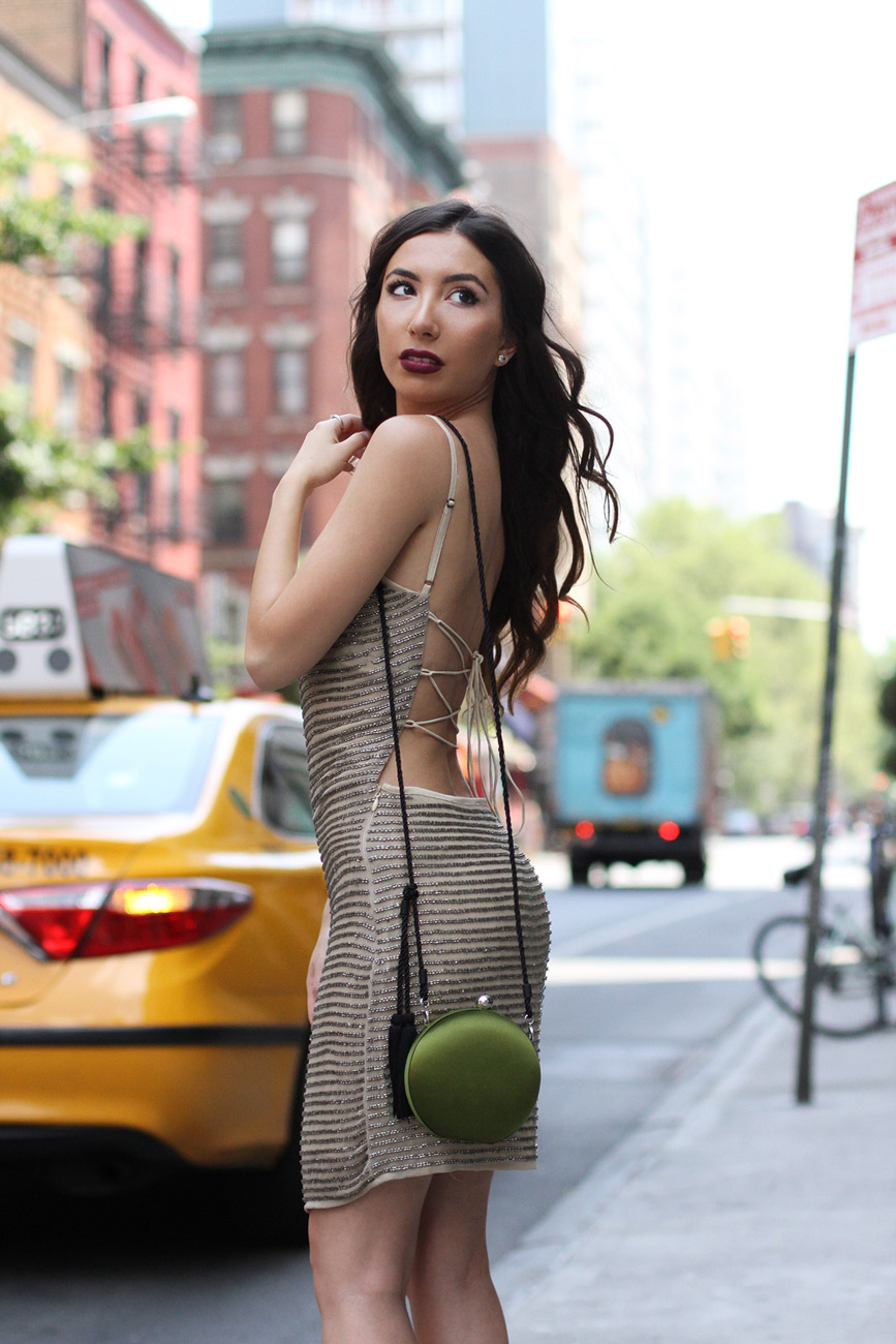 Beautiful beaded dress worn by NYC Style Blogger - Ulia Ali. New York lifestyle blog.