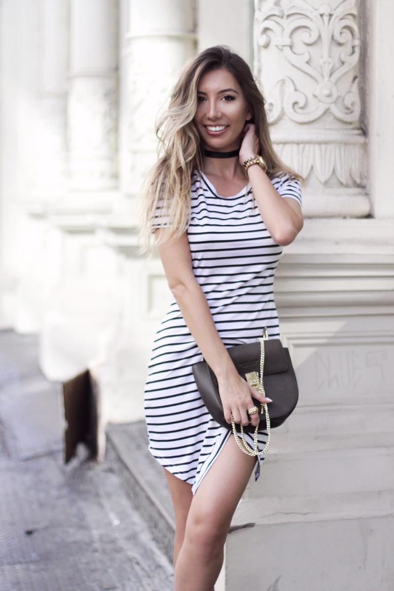 Ulia Ali wearing sexy stripes