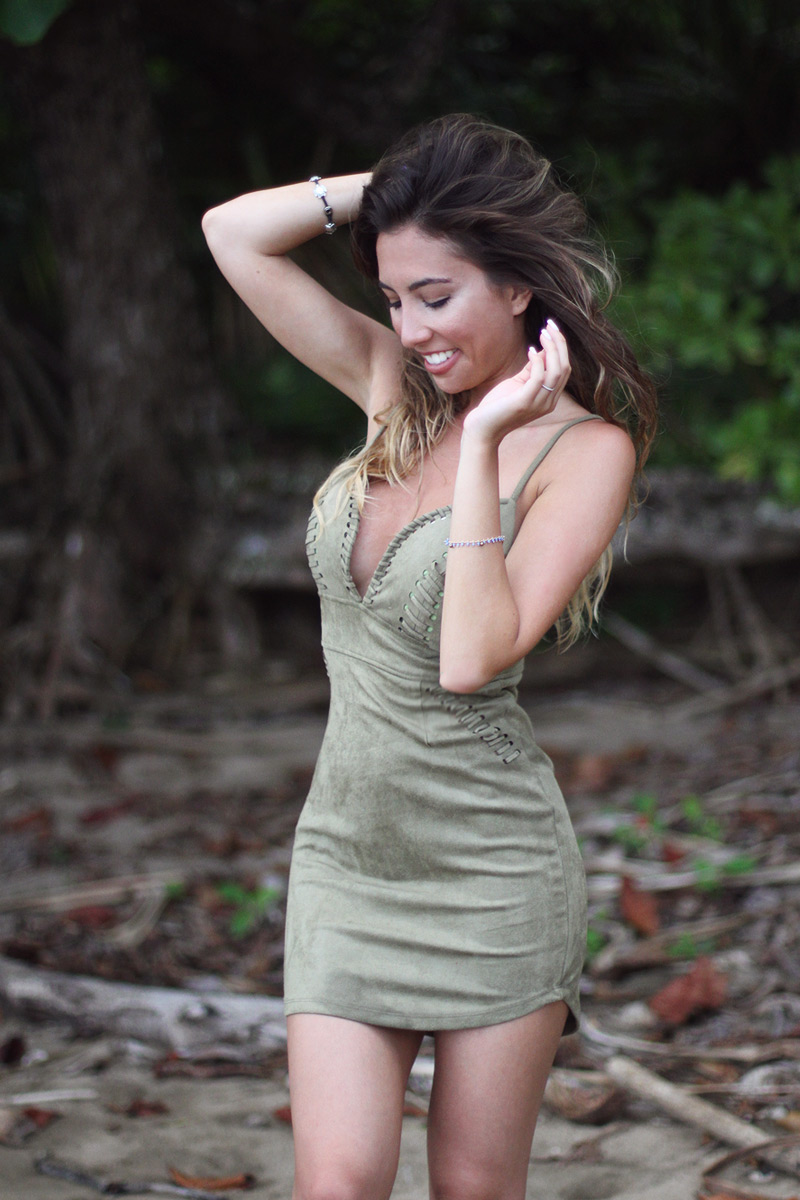Olive colored suede dress as seen on fashion blogger from NYC - Ulia Ali.