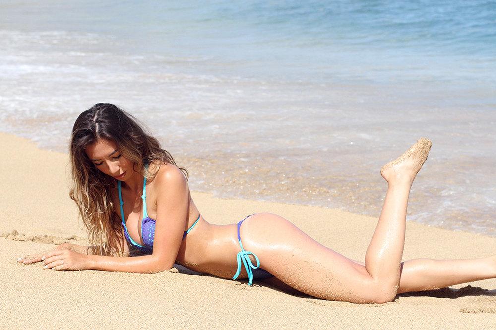 Beach model in Hanalei, Kauai, Hawaii
