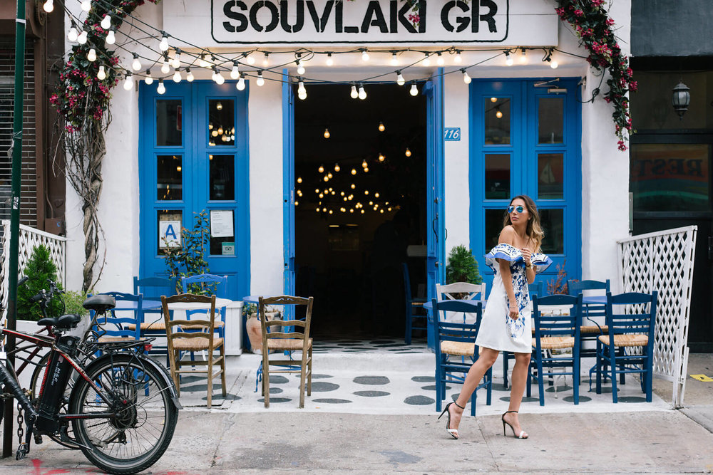 Blogger Ulia Ali in Souvlaki Gr Greek restaurant in NYC.