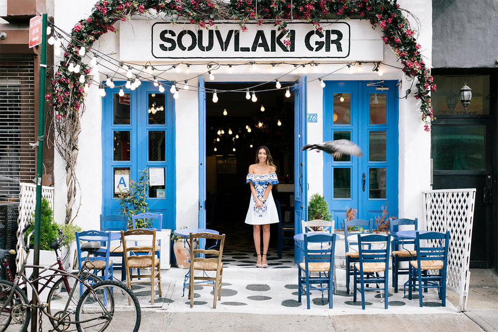 Souvlaki GR restaurant in NYC. Greek Week on blog pastiche today. Платье Shein