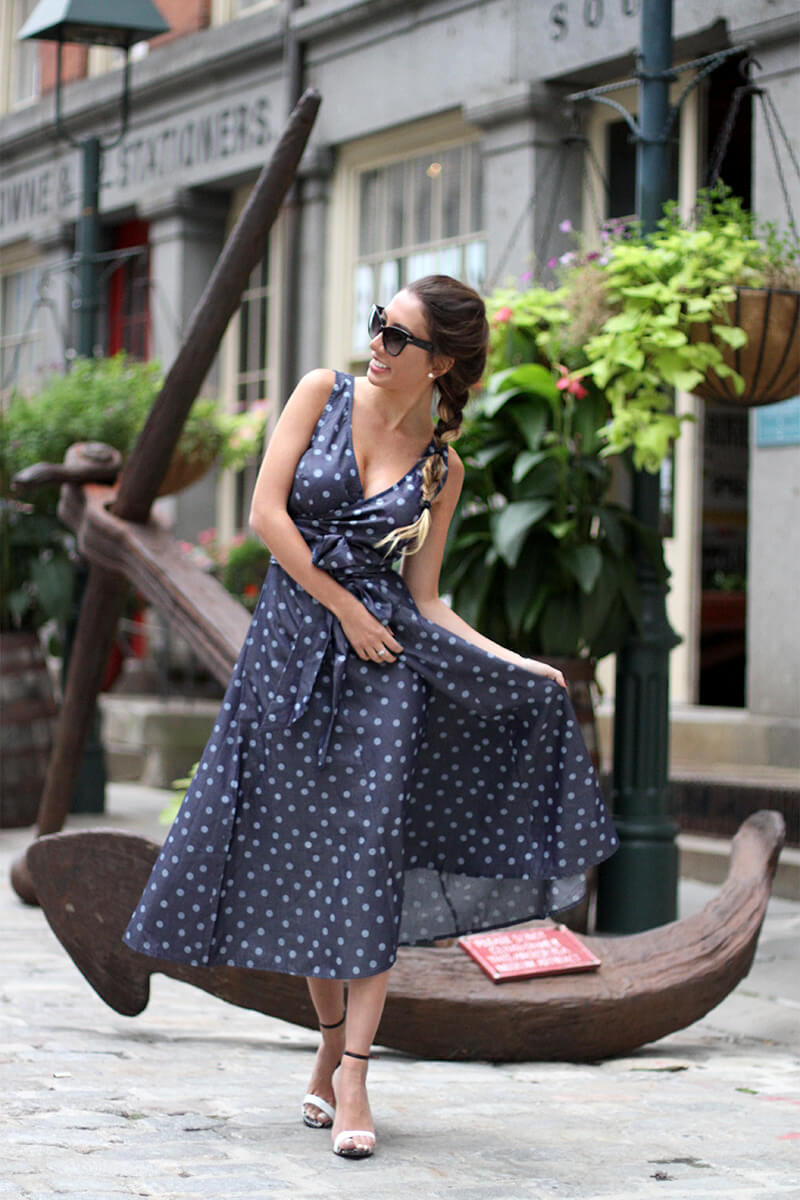 Polka dot dress. Vintage inspired look in NYC.